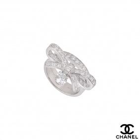Chanel White Gold Diamond Ruban Ring J11149